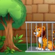 A cage with a tiger - Image vectorielle
