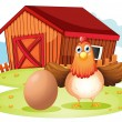 Stock Vector: Hen and egg at backyard
