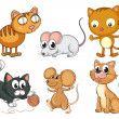 Cats and mice — Stock Vector