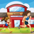 A kid and a woman running in front of the school — Stock Vector