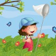 Royalty-Free Stock Vector Image: A girl with a cap catching butterflies