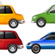 The yellow, green, red and blue car — Stock Vector