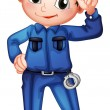 A policeman with a complete uniform — Vector de stock