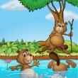 Three beavers playing at the river — Stock Vector #20807735