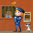 Stockvector : Prisoner at jail and policeman