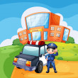 A patrol car and the policeman near the school — Stock Vector