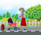 A lady with a red skirt pushing a stroller — Stock Vector