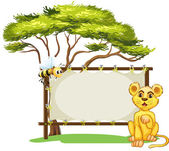 A young animal and a bee beside the empty signage — Stock Vector