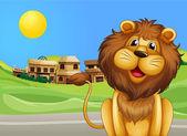 A lion across the village — Stock Vector