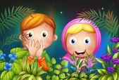 一个年轻的女孩和男孩在花园里藏 — 图库矢量图片