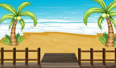 A view of the seaside with coconut trees — Stock Vector