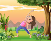 A lady exercising near a big tree — Stock Vector