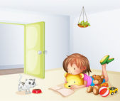 A girl inside a room with a cat and toys — Stock Vector