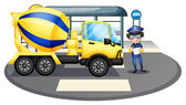 A cement truck inspected by the policeman — Stock Vector