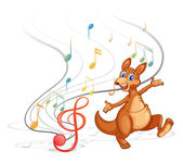 A kangaroo with the musical notes — Stock Vector