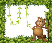 A beaver holding a stick on a leafy frame — Stock Vector