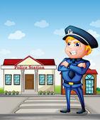 A policeman across the police station — Stock Vector