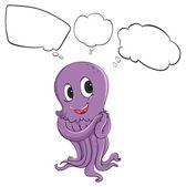 A purple octopus thinking — Stock Vector