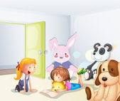 A room with kids and animals — Stock Vector
