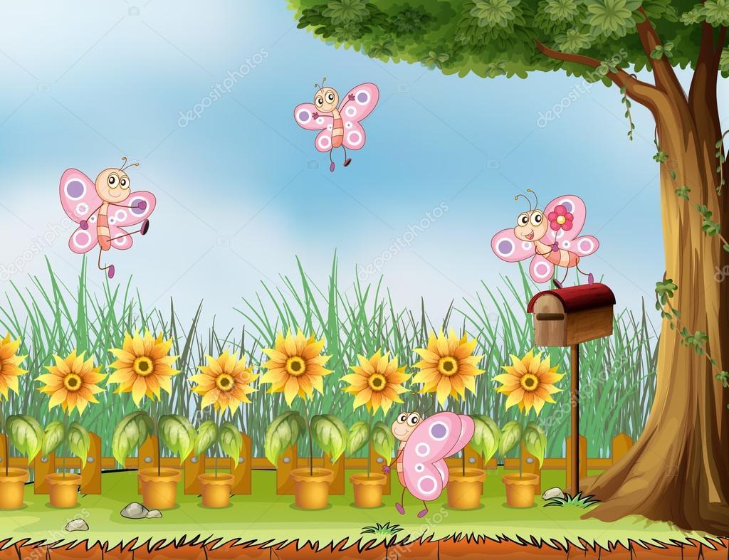 Cuatro rosas en el jard n de mariposas vector de stock for Figuras para el jardin