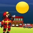 A fireman in the middle of the night — Stock Vector