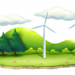 Windmills in the island - Stock Vector