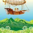 Постер, плакат: An airship carrying two young girls