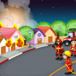 A fire at the village - Imagen vectorial