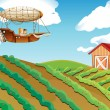 Stock Vector: Airship passing over farm