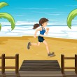 Stock Vector: Athlete jogging at seashore
