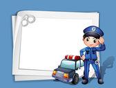 一名警察在一辆警车旁边 — 图库矢量图片