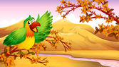 A green parrot in an autumn scenery — Stock Vector