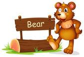A bear beside a sign board — Stock Vector