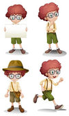 Different moods of a young boy — Stock Vector