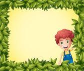 A boy inside a leafy frame — Stock Vector