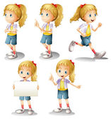 A girl with different positions — Stock Vector