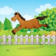 A horse jumping over the fence — Stock Vector