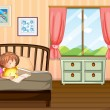 A child studying inside her room — Stock Vector #21163905