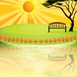 A sunset at the park — Stock Vector
