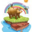 A big bear and two bees — Stock Vector