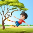 Stock Vector: Boy playing soccer at road