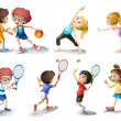 Kids exercising and playing different sports — Vector de stock #21163991