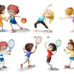 Дети, осуществляя и играть в различные спортивные — Cтоковый вектор