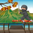 A gray ninja at the seaport - Stock Vector