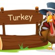 A turkey with a hat beside a signboard — Stock Vector