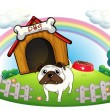 A dog with a doghouse — Stock Vector