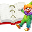 A clown and the big notebook — Stock Vector