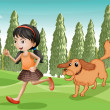 A girl running with her dog — Stock Vector