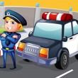 Stock Vector: Policemstanding beside his patrol car