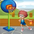 A boy playing basketball - Stock Vector